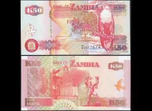 Sambia -Zambia - 50 Kwacha Banknotes 1992 UNC Pick 37 (13102