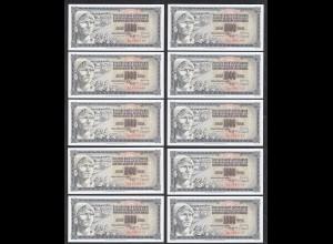 JUGOSLAWIEN - YUGOSLAVIA 10 Stück á 1000 Dinara 1981 Pick 92d UNC (1) (89153