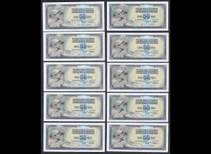 JUGOSLAWIEN - YUGOSLAVIA 10 Stück á 50 Dinara 1978 Pick 89a UNC (1) (89156