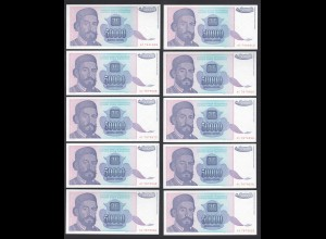 JUGOSLAWIEN - YUGOSLAVIA 10 Stück á 50000 Dinara 1993 Pick 130 UNC (1) (89161