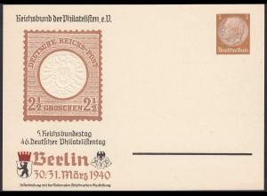 3.Reich Privatganzsache 1940 5.Reichsbundtag 46. Philatelistentag Prägedruck