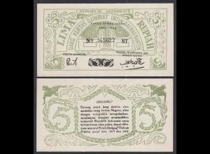INDONESIEN - INDONESIA 5 RUPIAH Banknote 1947 Pick S122 UNC (1) (14304