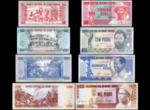 GUINEA-BISSAU 4 Stück 50 - 1000 Pesos 1990-1993 UNC (1) (14296