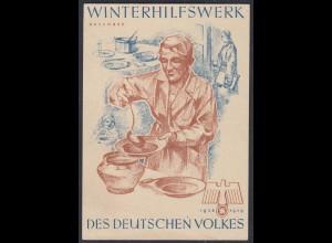 WHW Propaganda Tür Aufkleber Vignette NOVEMBER 1938/39 DES DEUTSCHEN VOLKES