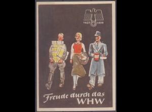 WHW Propaganda Tür Aufkleber Vignette 1937/38 Freude durch das WHW (27408