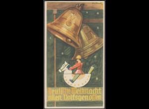 WHW Propaganda Tür Aufkleber Vignette Deutsche Weihnacht allen Volksgenossen