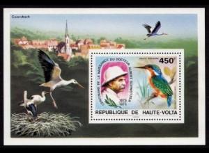 Obervolta 1975 Vögel Birds Animals Wildlife Bl.35 ** MNH (9083