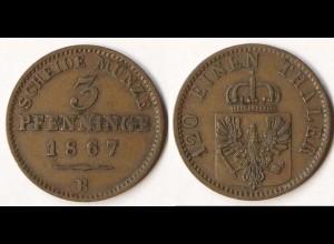Brandenburg-Preussen 3 Pfennig 1867 B - Wilhelm I. 1861-1888 (p809