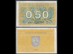 LITAUEN - LITHUANIA - 0,50 TALONAS 1991 PICK 31a VF (3) (27442