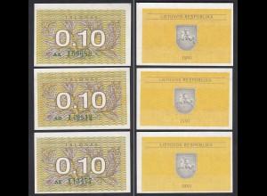Litauen - Lithunia 3 x 0,10 Talonas 1991 Serie AA,AD,AE grün Pick 29a UNC (1)