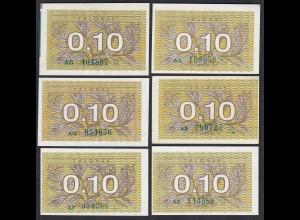 Litauen - Lithunia 6 x 0,10 T. 1991 Serie AA,AB,AG,AE,AN,AP grün P. 29a UNC (1)