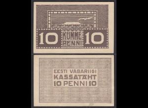 ESTLAND-ESTONIA-EESTI 10 Penni Banknote 1919 Pick 40 aUNC (1-) (27446