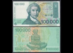 Kroatien - Croatia 100000 100.000 Dinara 1993 Pick 27 UNC (1) (27456