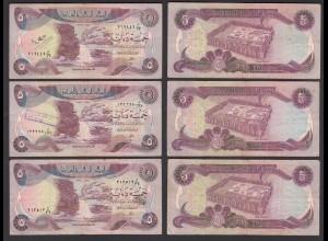 Irak - Iraq 3 Stück á 5 Dinar Banknote 1980/1 Pick 70a sig.21 F (4) (27500