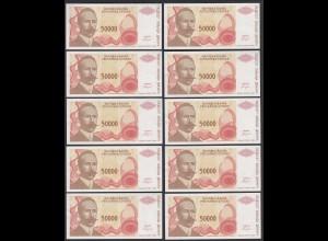 BOSNIA - HERZEGOVINA 10 Stück á 50000 50.000 Dinara 1993 Pick 150 UNC (1) (89169