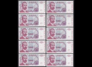BOSNIA - HERZEGOVINA 10 Stück á 5000 5.000 Dinara 1993 Pick 149 UNC (1) (89170