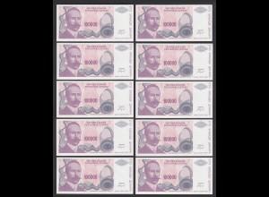 BOSNIA - HERZEGOVINA 10 Stück á 100000 100.000 Dinara 1993 Pick 151 UNC (1)
