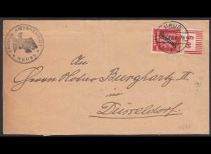 Amtsgericht Neuss 1926 Dienstbrief mit seltne Einzelfrankatur Mi. D107 W OR !!