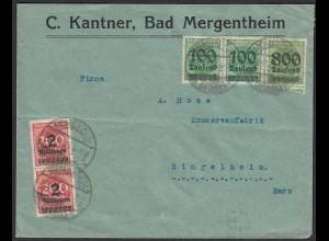 Infla Brief 1923 MIF Kanter Bad Mergentheim n. Ringelheim (21674