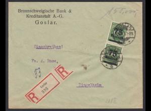 Infla R-Bank-Brief 1923 MEF Mi.288 Goslar nach Ringelheim (21676