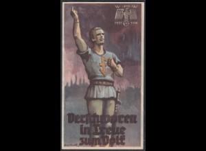 WHW Propaganda Tür Aufkleber Vignette 1935/36 Verschworen in Treue zum Volk