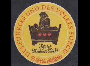 Propaganda Aufkleber Vignette DES FÜHRERS UND DES VOLKES SORGE (27397