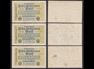 10 Millionen Mark 1923 Ro 105a 3 Stück FZ: EO BZ: 22,23,24 Starnoten (27361