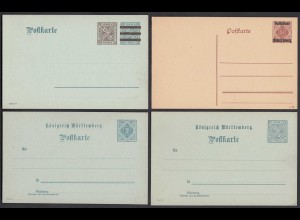 Württemberg 4 Stück ungebrauchte Ganzsachen (27652