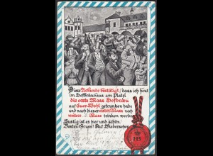 AK 1913 Urkunde Hofbräuhaus München gelaufen (27655