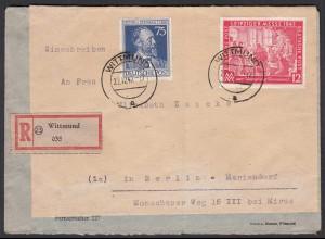 R-Brief 1947 Witt nach Mariendorfund Mif Alliierte Bes. Mi 964 + 965 (27660
