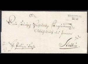 Westpommern WANGERIN (Węgorzyno) L2 ca.1825 Umschlag nach STETTIN (27352