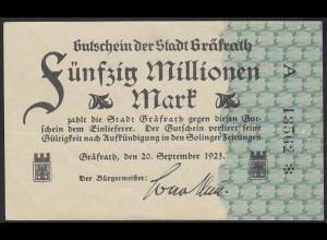 1923 Gräfrath 50 Millionen mark Serie A Starnote Gutschein Notgeld blaugrün Udr