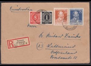 R-Brief 1947 Reinbek Bz Hamburg Mif Alliierte Bes. Mi 963-964 + 911,917 (27666