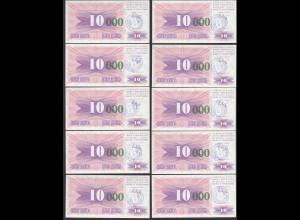 BOSNIA - HERZEGOVINA 10 Stück á 10-tausend Dinara 15.10.1993 Pick 53e UNC (1)