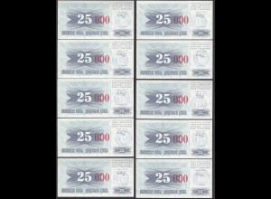 BOSNIA - HERZEGOVINA 10 Stück á 25-tausend Dinara 24.12.1993 Pick 54h UNC (1)