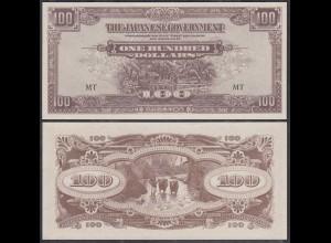 MALAYA MALAYSIA JAPANESE GOVERNMENT 100 Dollars ND (1944) Pick M8 UNC (1) (27393