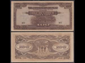 MALAYA MALAYSIA JAPANESE GOVERNMENT 100 Dollars ND (1944) Pick M8 VF (3) (27395