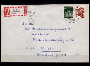 Finnentrop 1972 R-Brief nach Münster Behelfs-R-Zettel (6906