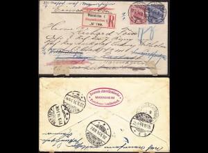 DR 1894 R-Brief m.47/48 Mannheim-Rastatt-Immendingen-Donaueschingen-Rastatt-Mh.
