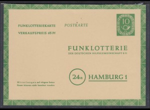 BRD Bund Funklotterie Postkarte FP 5 ungebraucht 1953 (27718