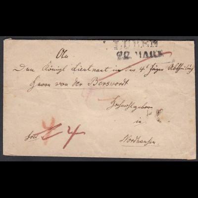 Schlesien Umschlag ca. 1817/20 LÜBEN L2 nach NORDHAUSEN mit Taxierung (25855
