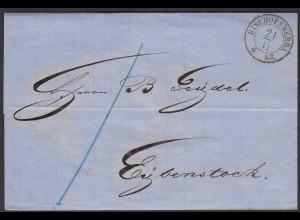 SACHSEN 1863 BISCHOFSWERDA K2 nach EIBENSTOCK ü.ZWICKAU R1 (25849