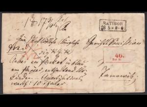 SCHLESIEN RATIBOR R2 Paketbegleitbrief 1861 mit Inhalt Taxierung (25839