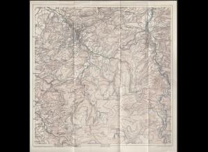 alte Karte d.Württemberger Schwarzwaldvereins von Baden-Wütt 1:50000 ca. 30x30cm