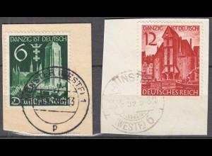 Deutsches Reich 3.Reich 1939 Michel 714-15 Briefstück gestempelt (27811