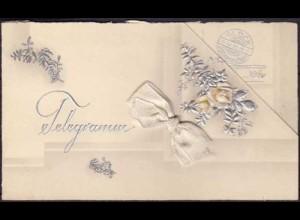 AK Silberhochzeit Klappkarte Silber Prägedruck selten (3674