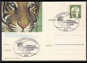 Münster Westf. Eröffnung Allwetter-Zoo 1974 SST auf Ganzsache (27825