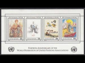 UNO New York 1986 40 JAHRE Weltverband WFUNA Block 9 postfrisch (65034