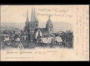 AK Gruss aus Gelnhausen 1899 mit Kirche mit Bahnpost (65065