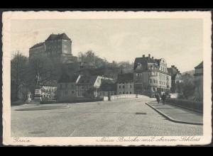 AK Greiz Thüringen Neue Brücke mit oberen Schloss 1929 (65071
